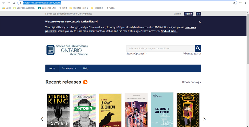 Home page for Cantook French language ebooks