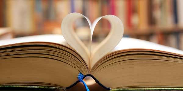 book with paper heart